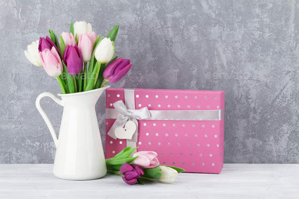 Colorful tulips bouquet and gift box - Stock Photo - Images