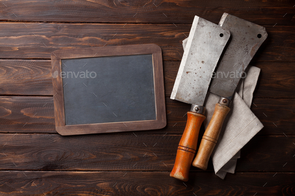 Butcher. Vintage meat knives - Stock Photo - Images