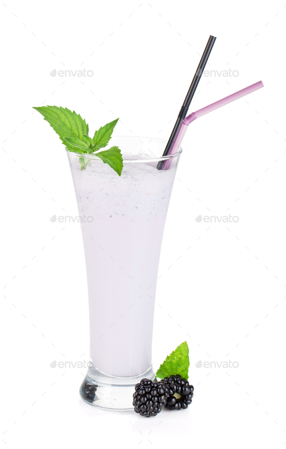 Blackberry milk smoothie with mint - Stock Photo - Images