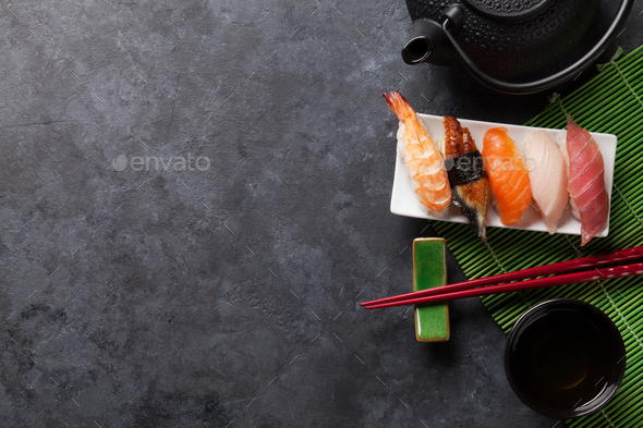 Set of sushi and green tea - Stock Photo - Images