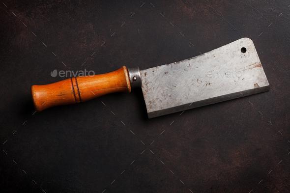 Butcher. Vintage meat knife - Stock Photo - Images
