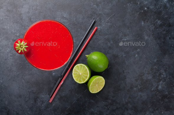 Strawberry margarita cocktail - Stock Photo - Images