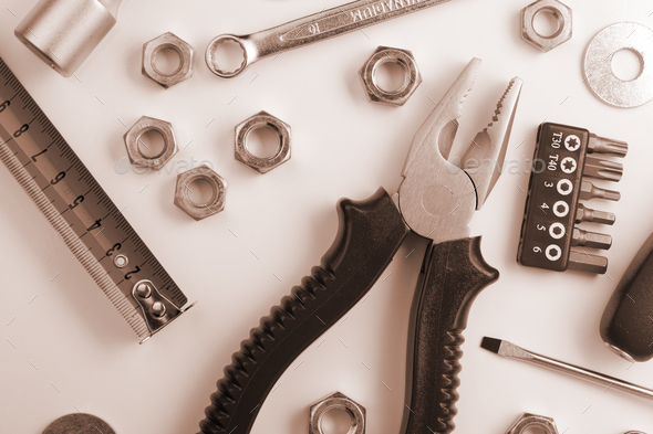 Tools and nuts - Stock Photo - Images
