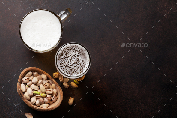 Lager beer and snacks - Stock Photo - Images