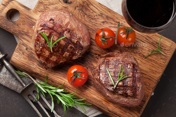 Grilled fillet steak with wine - Stock Photo - Images