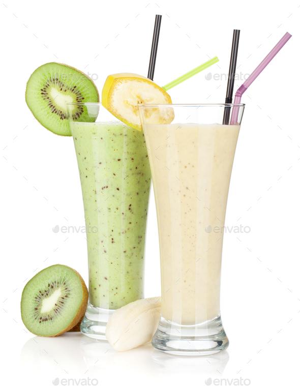 Kiwi and banana milk smoothie - Stock Photo - Images