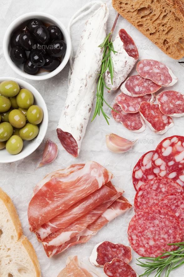 Salami, ham, sausage, prosciutto - Stock Photo - Images
