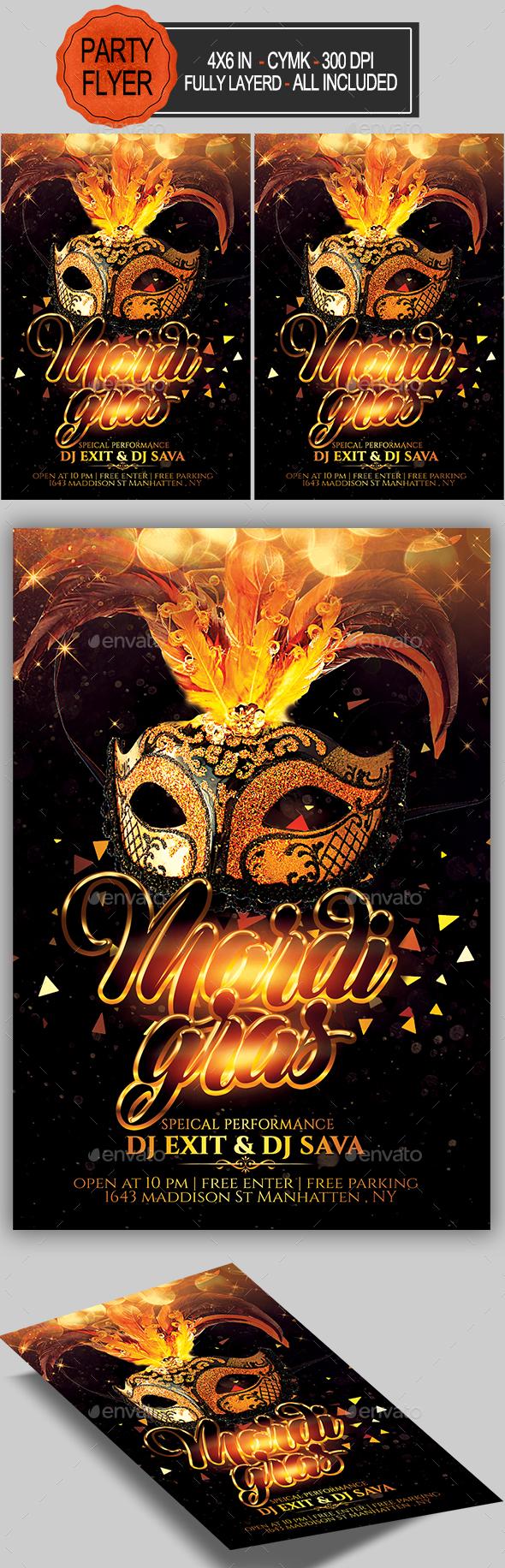 GraphicRiver Carnival Mardi Gras Flyer 21140722