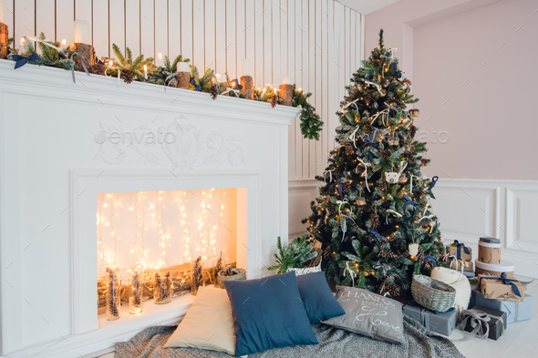 Stylish Christmas interior decorated in gray colors. Comfort home. - Stock Photo - Images