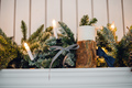 Christmas Fireplace, Xmas Lights Decoration, Tree Branches, candles and pine pieces - PhotoDune Item for Sale