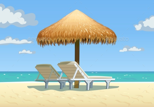 GraphicRiver Ocean Beach with Umbrella and Bed Vector 21140788
