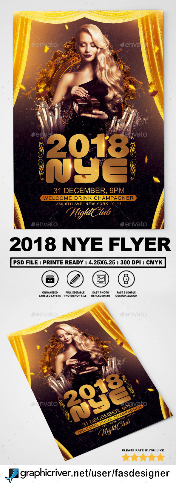 GraphicRiver 2018 NYE Flyer 21140819