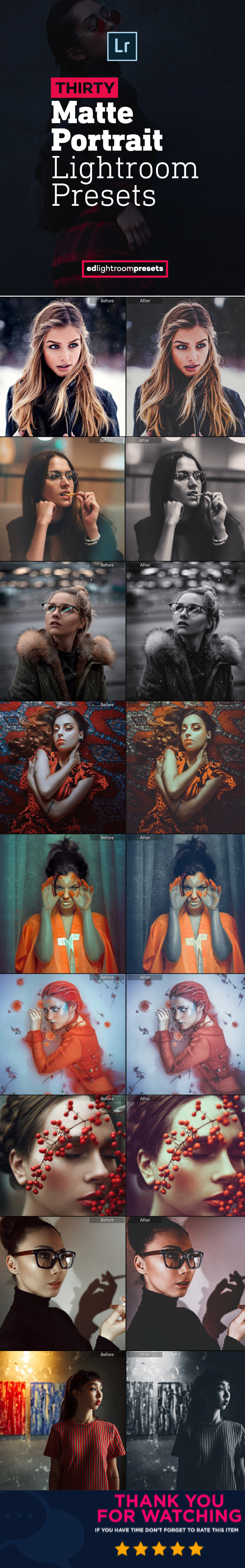 GraphicRiver 30 Premium Matte Portrait Lightroom Presets 21140858