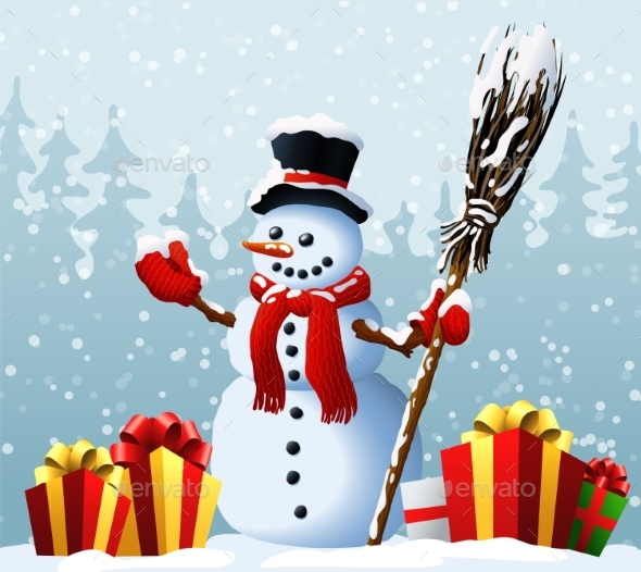 GraphicRiver Snowman with Christmas Presents 21141109