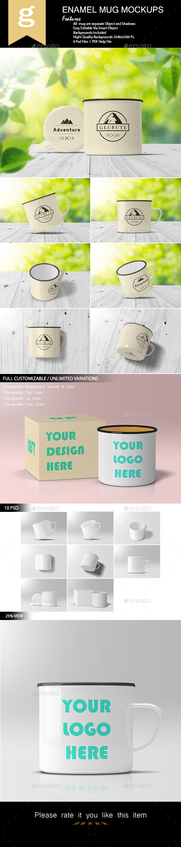 GraphicRiver Enamel Mug Mock-Up 21141160