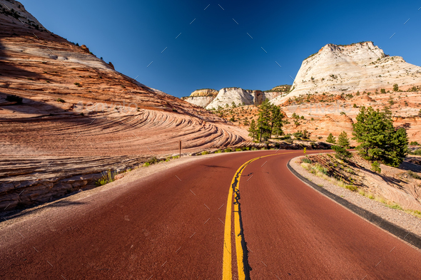 Empty scenic highway in Utah - Stock Photo - Images
