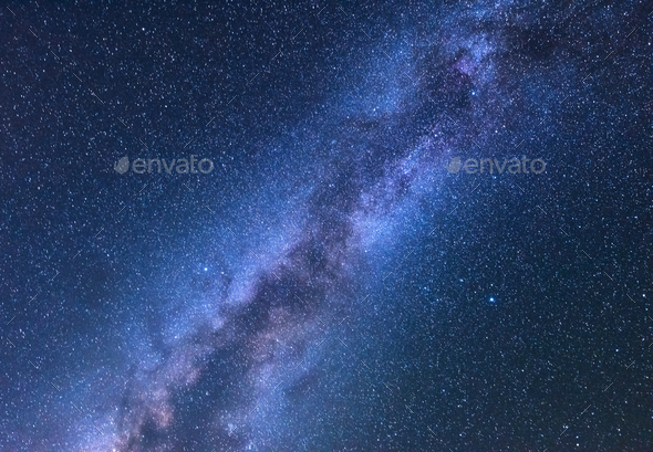Fantastic night landscape with bright milky way - Stock Photo - Images