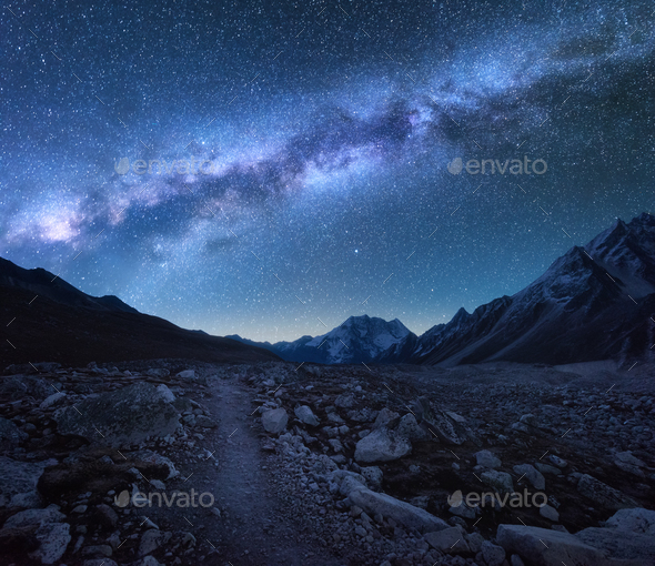 Milky Way and mountains. Night landscape - Stock Photo - Images