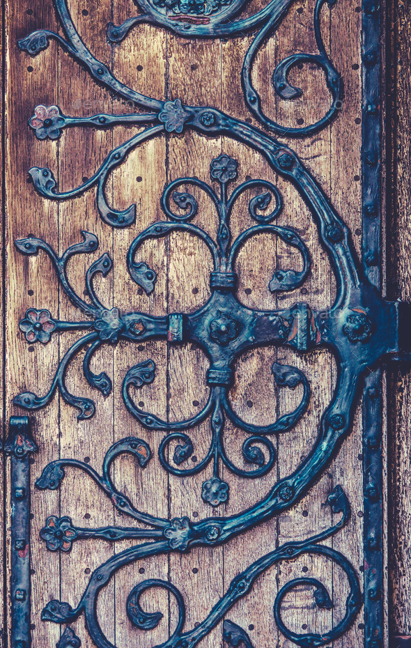 Ornate Wrought Iron Hinge Detail - Stock Photo - Images