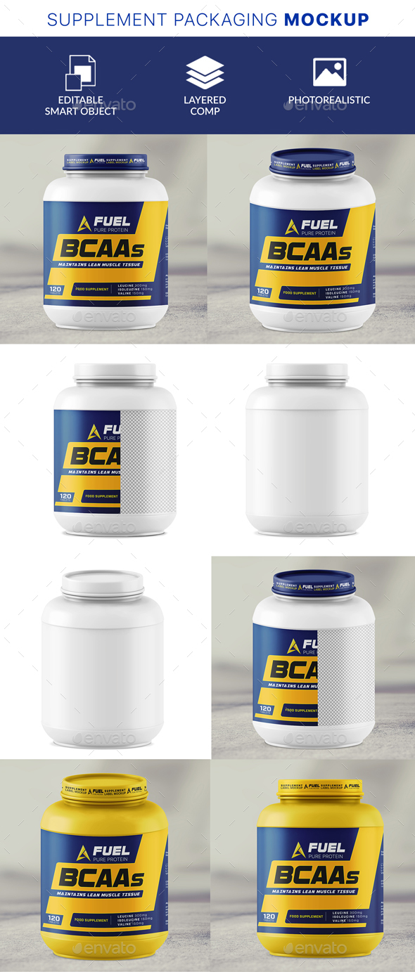 GraphicRiver Protein Powder Tub Mockup 21141888