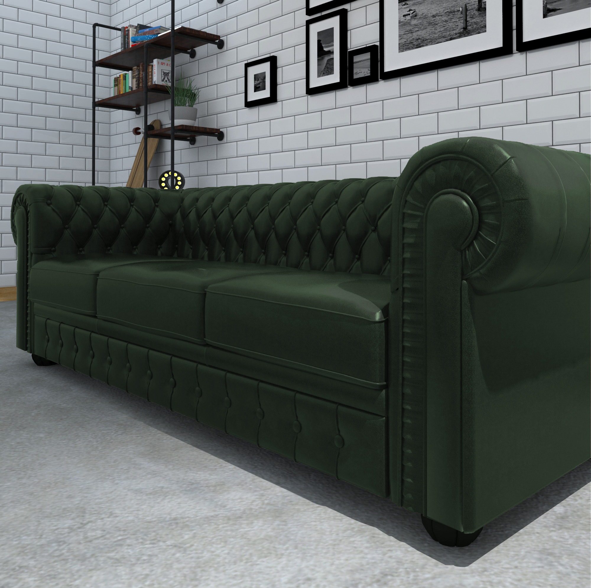 ... 04_Chesterfield Couch Green ...