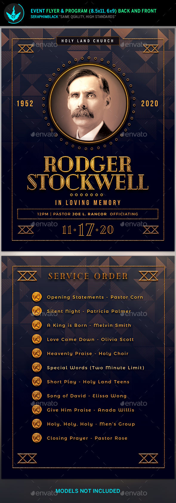 GraphicRiver Art Deco Funeral Flyer and Program Template 21142078