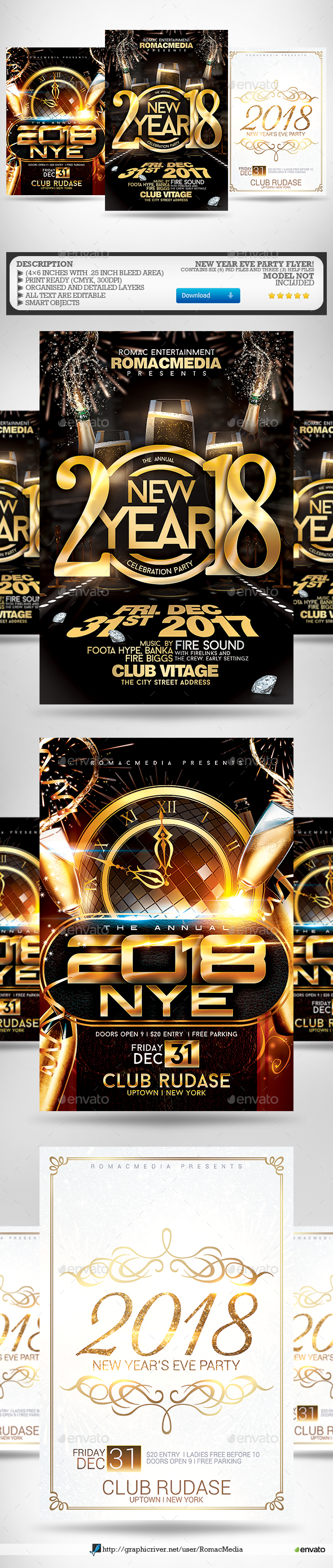 New Year Flyer Bundle 1 - Clubs & Parties Events