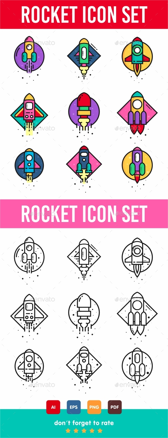 GraphicRiver Rocket Icon Set 21142439