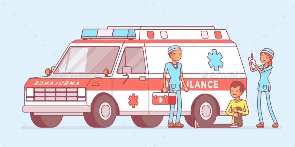 GraphicRiver Doctors Near the Ambulance Car 21142442