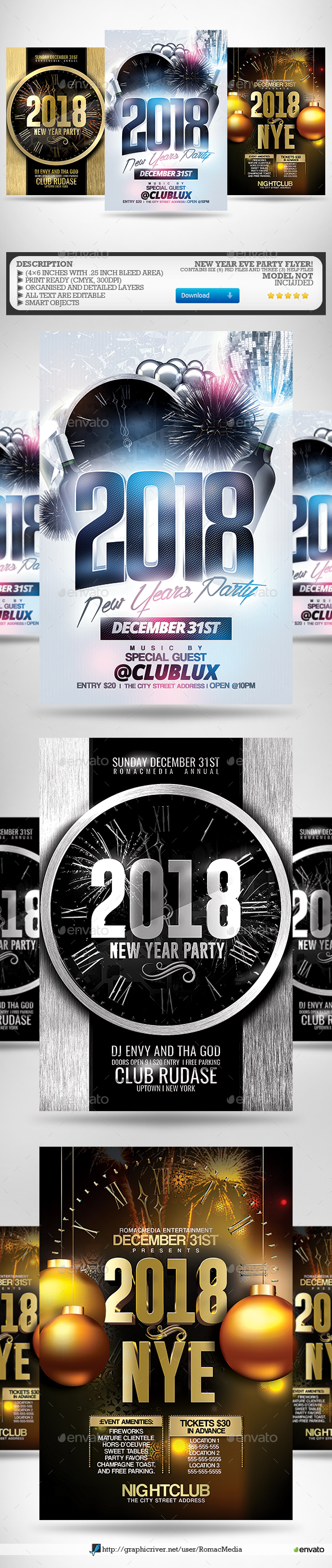 New Year Flyer Bundle 6 - Clubs & Parties Events