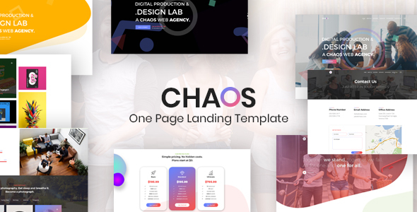 Chaos is One Page Creative Landing Template Free Download | Nulled