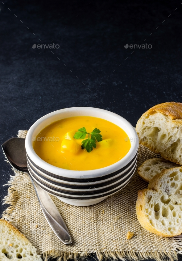A Bowl of Pumpkin & Potato Vegetable Soup - Stock Photo - Images