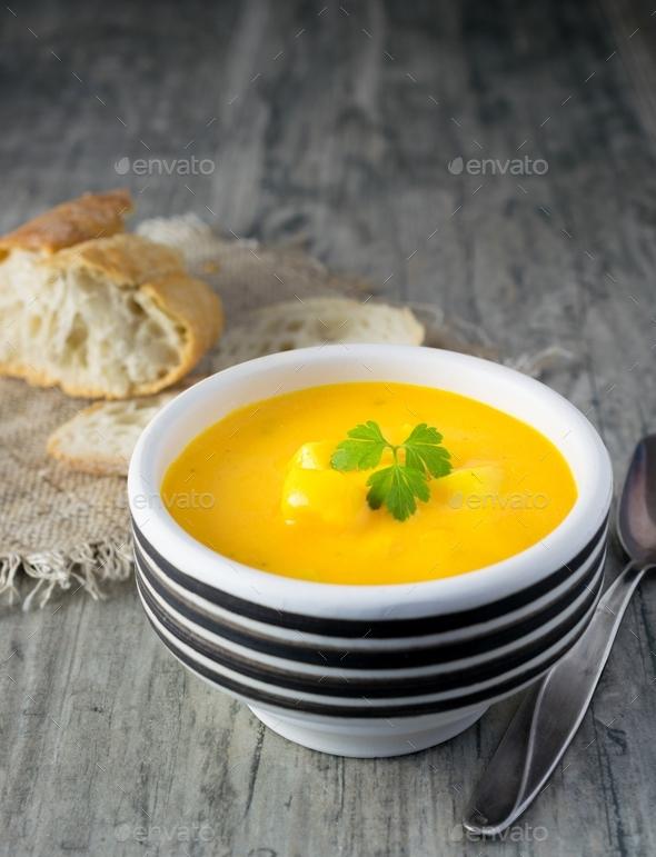 A Bowl of Pumpkin & Potato Vegetable Soup - Stock Photo - Images