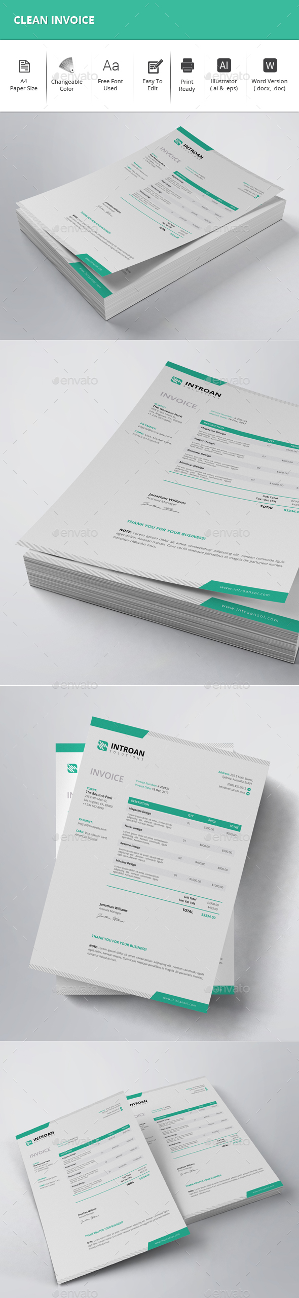 GraphicRiver Clean Invoice 21142617