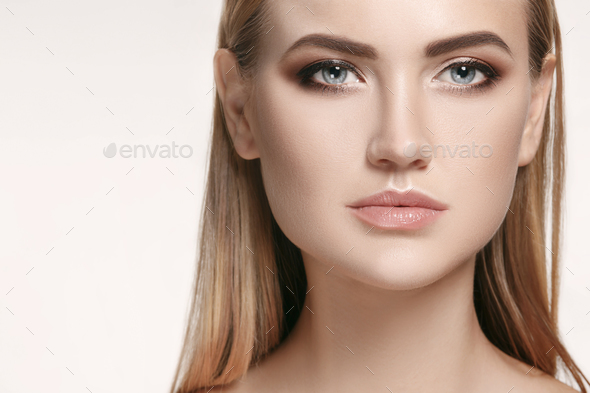 Beautiful Girl face. Perfect skin - Stock Photo - Images