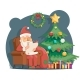 Santa Claus in Armchair with Scroll