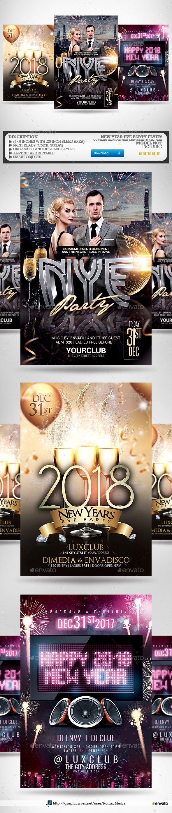 New Year Flyer Bundle 8 - Clubs & Parties Events