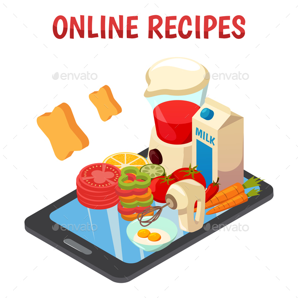 GraphicRiver Online Culinary Recipes Isometric Composition 21142818