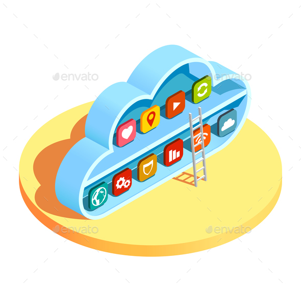 GraphicRiver Cloud Computing Apps Isometric Composition 21142820
