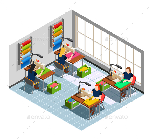 GraphicRiver Clothes Factory Seamstress Isometric Composition 21142821