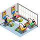 Clothes Factory Seamstress Isometric Composition