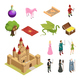 Fairy Tale Isometric Icons Set