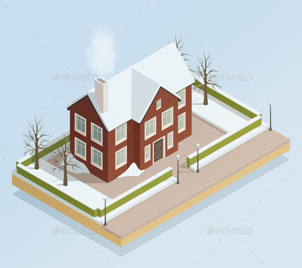 GraphicRiver Winter House Outdoor Isometric View 21142828