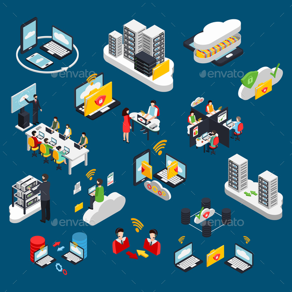 GraphicRiver Cloud Office Isometric Icons Set 21142830