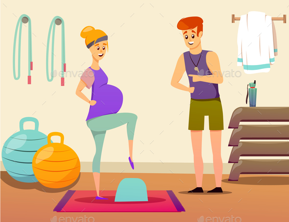 GraphicRiver Pregnant Woman Sport Instructor Composition 21142840