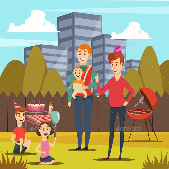 GraphicRiver Fathers and Kids Orthogonal Composition 21142841