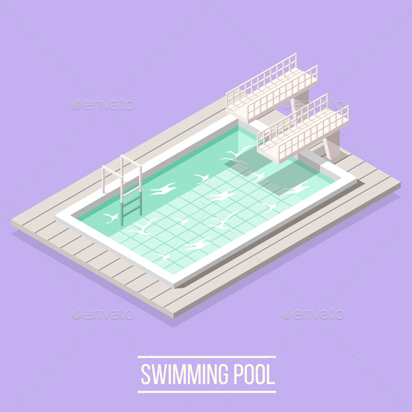 GraphicRiver Swimming Pool Isometric Composition 21142845