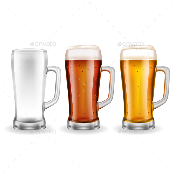 GraphicRiver Three Transparent Glass Beer Mugs 21142887