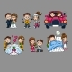 Cartoon Romantic Characters Set