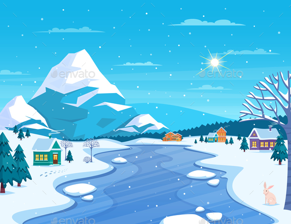 GraphicRiver Winter Landscape and Town Illustration 21143125
